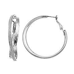 Silver Tone Glittery Nickel Free Crisscross Hoop Earrings
