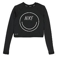 Girls 7-14 Nike Smiley Cropped Hydroguard Rashguard