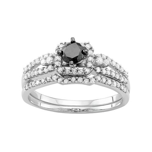 10k White Gold 1 Carat T.W. Black & White Diamond Engagement Ring Set