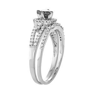 10k White Gold 1 Carat T.W. Black & White Diamond Engagement Ring Set