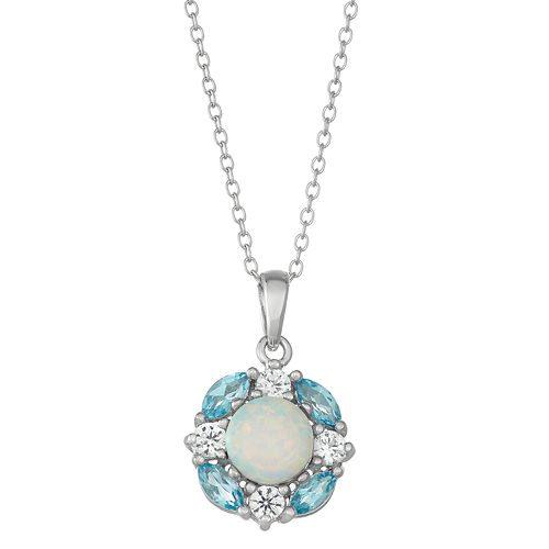 Sterling Silver Blue Topaz, Lab-Created Opal & White Sapphire Cluster Pendant Necklace