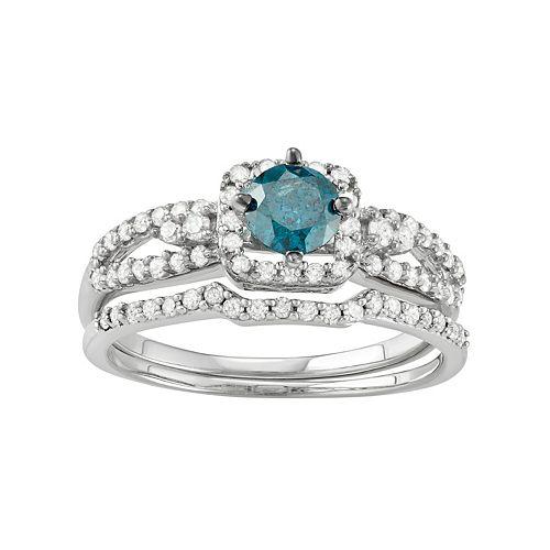 10k White Gold 1 Carat T.W. Blue & White Diamond Engagement Ring Set