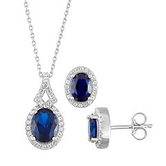 Sterling Silver Lab-Created Blue & White Sapphire Pendant & Earring Set
