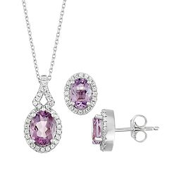 Sterling Silver Lab-Created Amethyst & Lab-Created White Sapphire Pendant & Earring Set