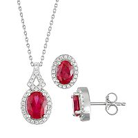 Sterling Silver Lab-Created Ruby & Lab-Created White Sapphire Pendant & Earring Set