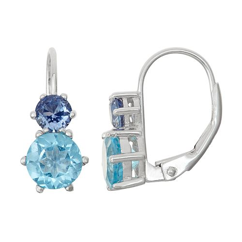 Sterling Silver Swiss Blue Topaz & Lab-Created Sapphire Double Drop Earrings
