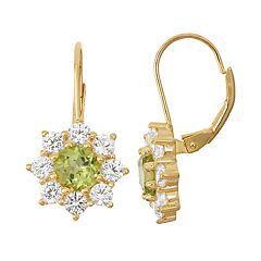 14k Gold Over Silver Peridot & Lab-Created White Sapphire Starburst Drop Earrings