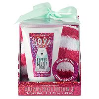 Simple Pleasures Ultra Plush Socks & Peppermint Swirl Foot Cream Set