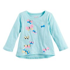 Baby Girl Jumping Beans® Glittery Butterfly Long Sleeve Graphic Tee