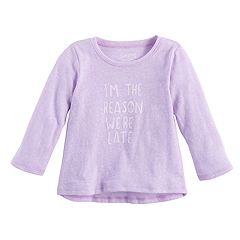 Baby Girl Jumping Beans® 'I'm The Reason We're Late' Slogan Long Sleeve Graphic Tee
