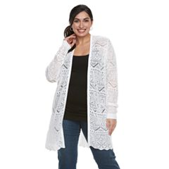 Plus Size Napa Valley Pointelle Duster Cardigan