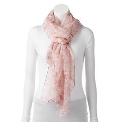 LC Lauren Conrad Floral Border Oversized Oblong Scarf