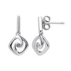Boston Bay Diamonds Sterling Silver Diamond Accent Square Drop Earrings