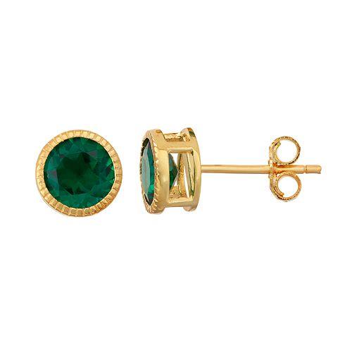 14k Gold Over Silver Lab-Created Emerald Milgrain Stud Earrings