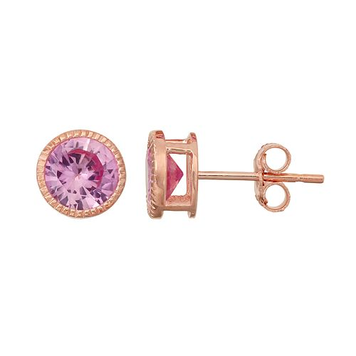 14k Rose Gold Over Silver  Lab-Created Pink Sapphire Milgrain Stud Earrings