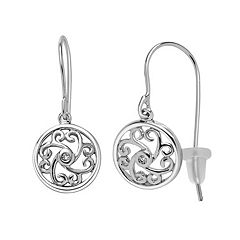Boston Bay Diamonds Sterling Silver Diamond Accent Filigree Drop Earrings