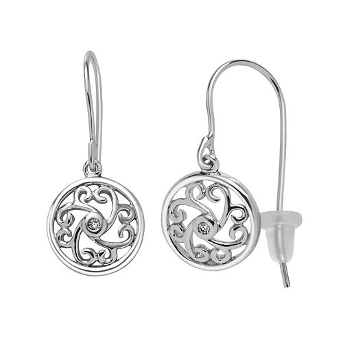 Boston Bay Diamonds Sterling Silver Diamond Accent Filigree Drop Earrings