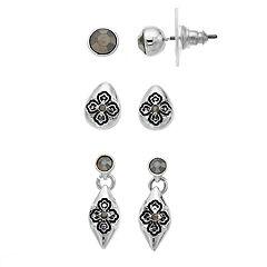 Napier Quatrefoil Stud & Drop Earring Set