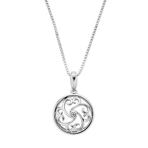 Boston Bay Diamonds Sterling Silver Diamond Accent Filigree Circle Pendant