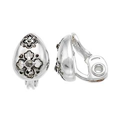 Napier Quatrefoil Teardrop Clip-On Stud Earrings