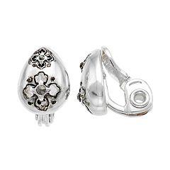 Napier Quatrefoil Teardrop Clip-On Stud Earrings