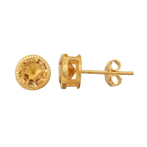 14k Gold Over Silver Citrine Stud Earrings