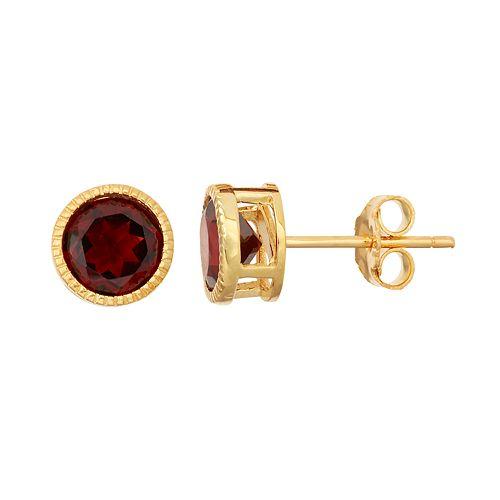 14k Gold Over Silver Garnet Stud Earrings