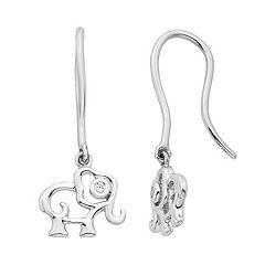 Little Diva Diamonds Kids' Sterling Silver Diamond Accent Elephant Earrings