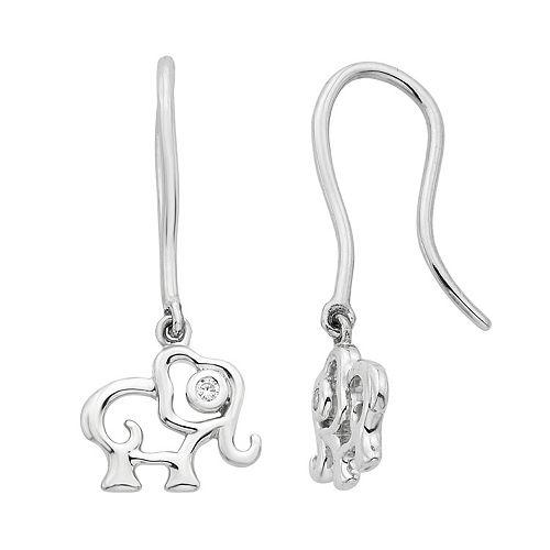 Little Diva Diamonds Kids' Sterling Silver Diamond Accent Elephant Earrings
