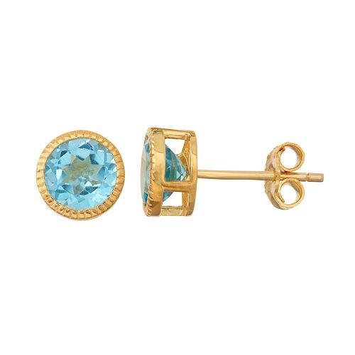 14k Gold Over Silver Swiss Blue Topaz Stud Earrings