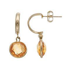 10k Gold Citrine Semi-Hoop Earrings