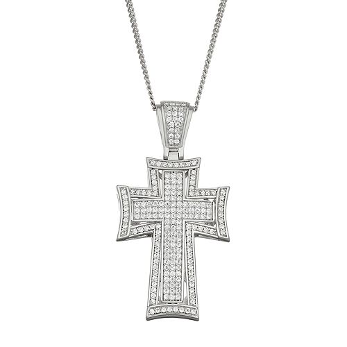 Men's Sterling Silver Cubic Zirconia Outlined Cross Pendant