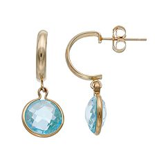 10k Gold Sky Blue Topaz Semi-Hoop Earrings