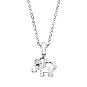 Little Diva Diamonds Kids' Sterling Silver Diamond Accent Elephant Pendant