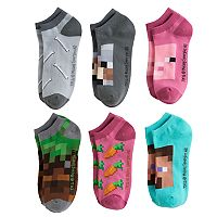 Boys 4-20 Minecraft 6-Pack No-Show Socks