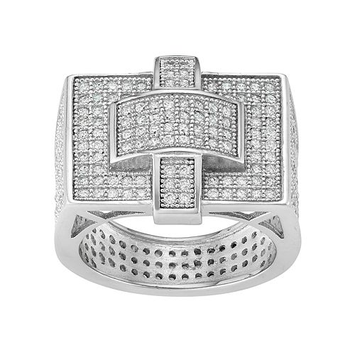 Men's Sterling Silver Cubic Zirconia Rectangular Ring