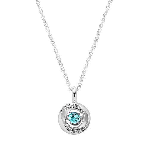 Brilliance in Motion Blue Topaz & Diamond Accent Knot Pendant