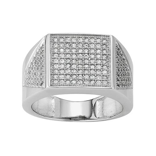 Men's Sterling Silver Cubic Zirconia Square Ring
