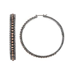 Simply Vera Vera Wang Beaded Trim Nickel Free Hoop Earrings