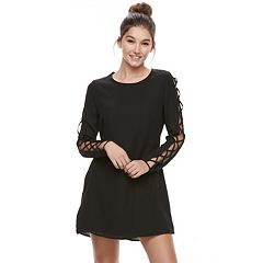 Juniors' Liberty Love Lace-Up Sleeve Shift Dress