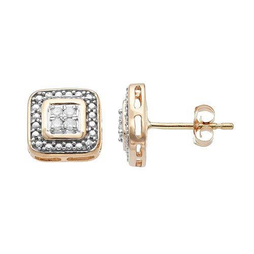 10k Gold 1/10 Carat T.W. Diamond Cluster Square Stud Earrings