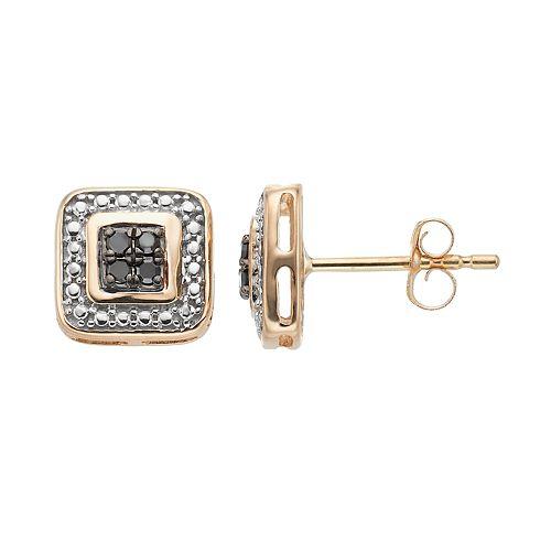 10k Gold 1/10 Carat T.W. Black Diamond Cluster Square Stud Earrings
