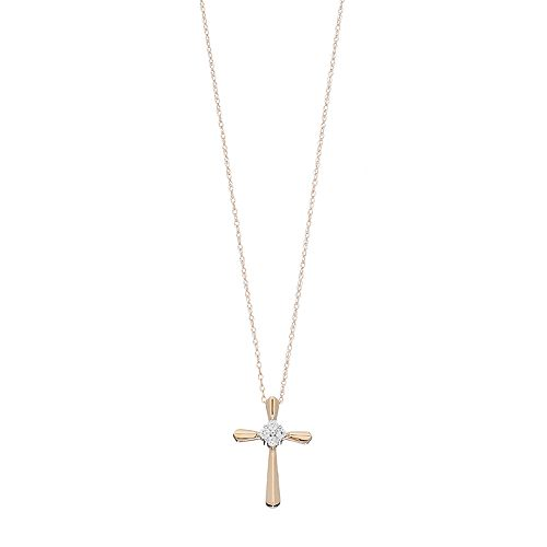 10k Gold 1/10 Carat T.W. Diamond Cluster Cross Pendant