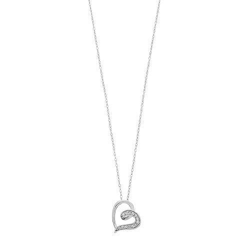 10k Gold 1/10 Carat T.W. Diamond Sideways Heart Pendant