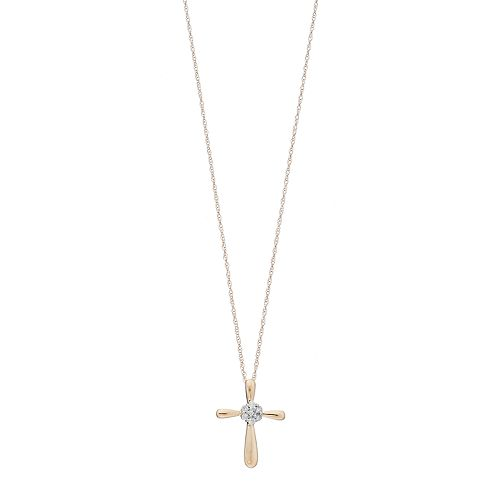 10k Gold 1/10 Carat T.W. Diamond Cluster Cross Pendant