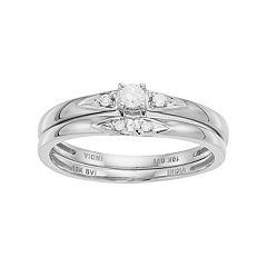 10k Gold 1/10 Carat T.W. Diamond Engagement Ring Set