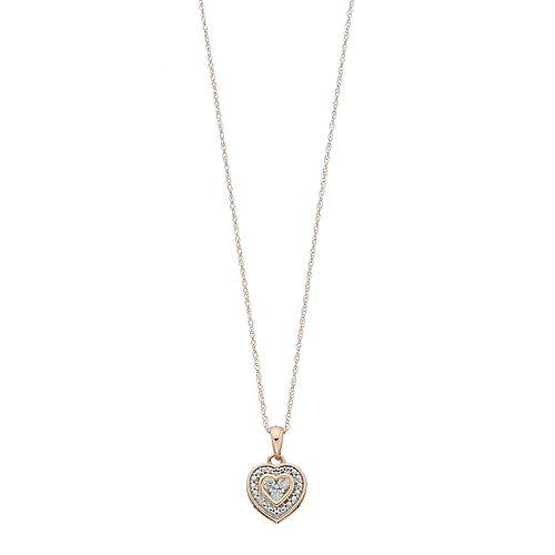 10k Gold 1/10 Carat T.W. Diamond Double Heart Pendant