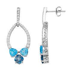 Sterling Silver Blue Topaz & Cubic Zirconia Drop Earrings