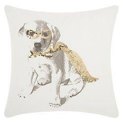 Mina Victory Trendy, Hip & New Age Glitter Superdog Throw Pillow
