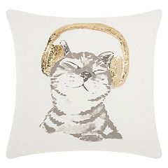 Mina Victory Trendy, Hip & New Age DJ Glitter Kitten Throw Pillow